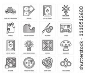 set of 16 icons such as table...