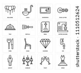 set of 16 icons such as bride ...