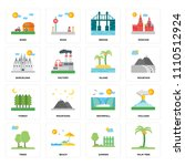 set of 16 icons such as palm...