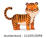 cute tiger stands on a white...   Shutterstock .eps vector #1110513098