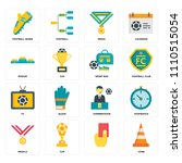 set of 16 icons such as cone    ...