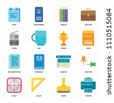 set of 16 icons such as printer ...