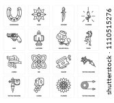 set of 16 icons such as tattoo... | Shutterstock .eps vector #1110515276