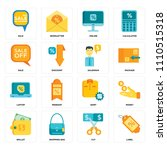 set of 16 icons such as label ...