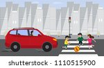 kids crossing road with red car ... | Shutterstock .eps vector #1110515900