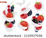 forest fruit yogurt. mixed... | Shutterstock .eps vector #1110527030