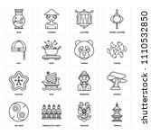 set of 16 icons such as temple  ...