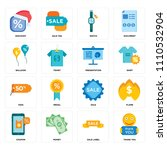 set of 16 icons such as thank...
