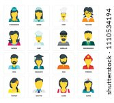 set of 16 icons such as nurse ... | Shutterstock .eps vector #1110534194