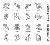 set of 16 icons such as tattoo  ...
