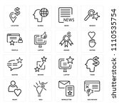 set of 16 icons such as bad...