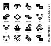 set of 16 icons such as chat...