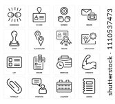 set of 16 icons such as agenda  ...