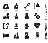 set of 16 icons such as body ... | Shutterstock .eps vector #1110537494
