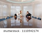 harrasment in office with collar | Shutterstock . vector #1110542174