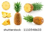 pineapple collection with leaf... | Shutterstock . vector #1110548633