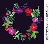 wreath with flowers and leaves. ... | Shutterstock .eps vector #1110556124