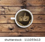 cup of coffee with foam in like ... | Shutterstock . vector #111055613