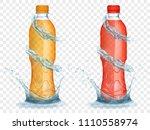 two translucent plastic bottles ... | Shutterstock .eps vector #1110558974