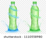 two translucent plastic bottles ... | Shutterstock .eps vector #1110558980
