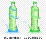 two translucent plastic bottles ... | Shutterstock .eps vector #1110558980