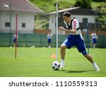 Small photo of Innsbruck, Austria – May 30, 2018. Russian football player Alan Dzagoev during training camp in Neustift, Austria.