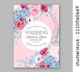 pink peony wedding invitation... | Shutterstock .eps vector #1110560669