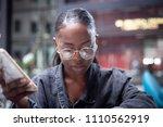 atracctive young black girl... | Shutterstock . vector #1110562919