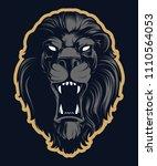 roaring lion head mascot ... | Shutterstock .eps vector #1110564053