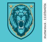 roaring lion head mascot ...   Shutterstock .eps vector #1110564056