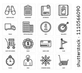 set of 16 icons such as cart ...