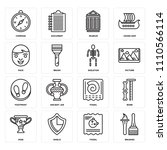 set of 16 icons such as brushes ...