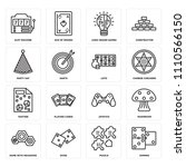 set of 16 icons such as domino  ...