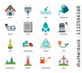 set of 16 icons such as eolic ...