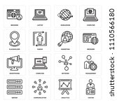 set of 16 icons such as visitor ...