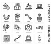 set of 16 icons such as startup ...