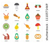 set of 16 icons such as pretzel ... | Shutterstock .eps vector #1110571469