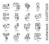 set of 16 icons such as news ...