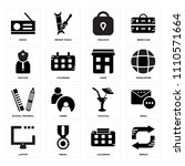 set of 16 icons such as repeat  ...