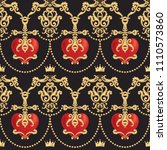 seamless damask pattern with... | Shutterstock .eps vector #1110573860