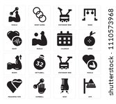 set of 16 icons such as gym ... | Shutterstock .eps vector #1110573968