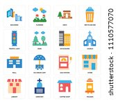 set of 16 icons such as mailbox ... | Shutterstock .eps vector #1110577070