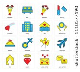 set of 16 icons such as love...