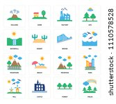 set of 16 icons such as fields  ...