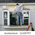 window installer - stock photo