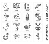set of 16 icons such as growth  ...