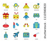set of 16 icons such as rainbow ... | Shutterstock .eps vector #1110580820