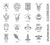 set of 16 icons such as pigeon  ...