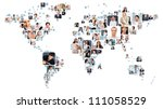 Small photo of Collection of different people portraits placed as world map shape