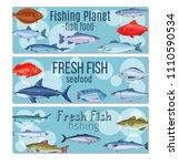 set vector banners fish.... | Shutterstock .eps vector #1110590534